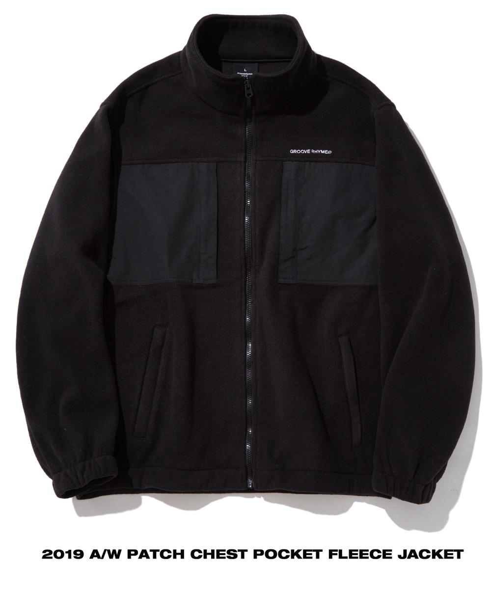 PATCH CHEST POCKET FLEECE JACKET (BLACK) [GFZ404H43BKA]