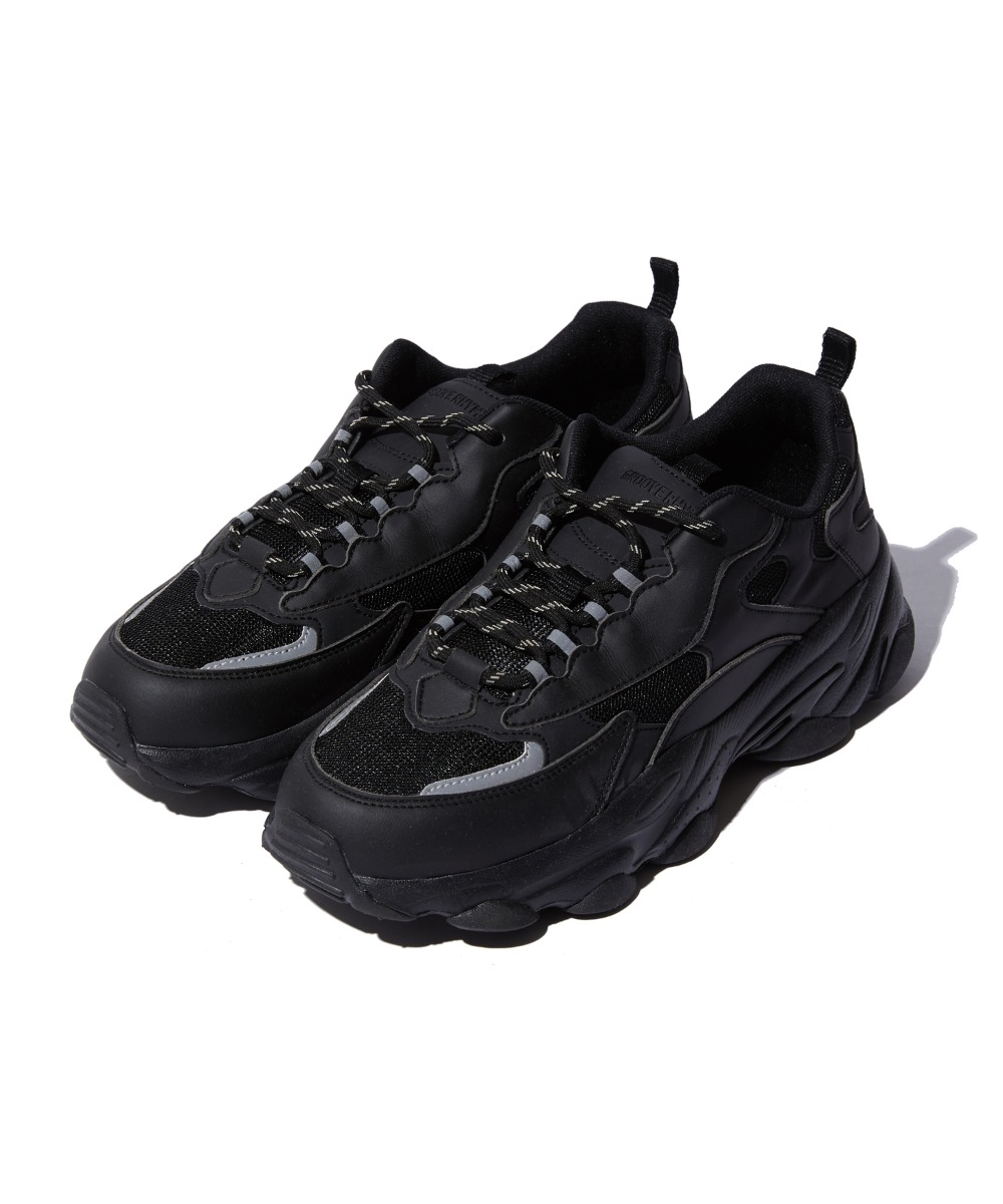 REFLECTIVE CHUNKY UGLY SHOES (BLACK) [GSN001I53BK]
