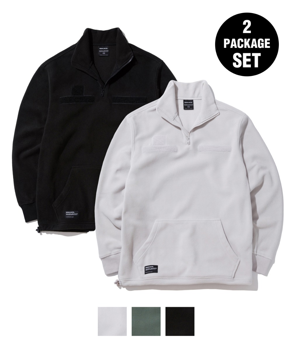 1+1 VELCRO PATCH FLEECE HALF ZIP-UP [GNZ302H43]